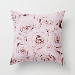 Flowers, Roses, Neutral, Minimal, Modern, Wall art Throw Pillow
