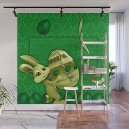 easter green background eggs Wall Mural