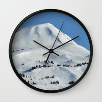 skiing Wall Clocks featuring Back-Country Skiing  - VI by Alaskan Momma Bear