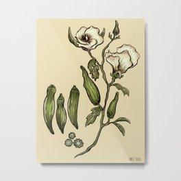 Okra Botanical Metal Print