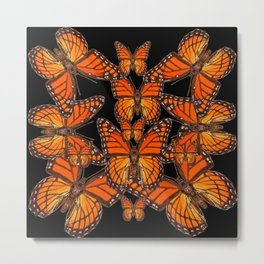 Monarch Butterflies Migration Black Pattern Art Metal Print