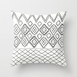 Beni Moroccan Print in Cream and Black Throw Pillow