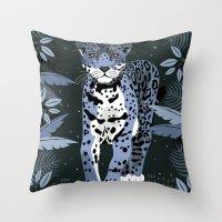 Midnight Jaguar Throw Pillow