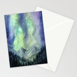 Northern Lights Magic Mountains Stationery Cards