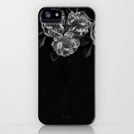 gray flowers in the corner iPhone Case