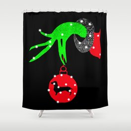 Grinch Hand Holding Dachshund Christmas Shower Curtain