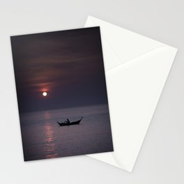 Rowing into the sunset Stationery Cards
