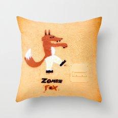 Zombie Fox Throw Pillow