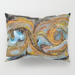 Gold Copper Blue Mica Swirl Low Poly Geometric Triangles Pillow Sham