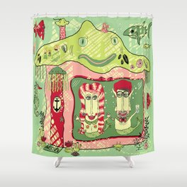 Sea Home of the Hipster Mer-Couple Shower Curtain