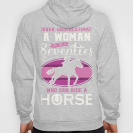 Woman in Seventies Horse Riding Design Ride Granny graphic Hoody