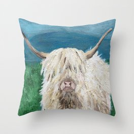 A Sweet Shaggy Highland Coo Throw Pillow