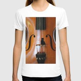 Black Cat And Violin #decor #society6 T-shirt