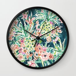 PINEAPPLE PARTY Lush Tropical Boho Floral Wall Clock