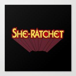 She-Ratchet Vintage Superheroine Typography Canvas Print