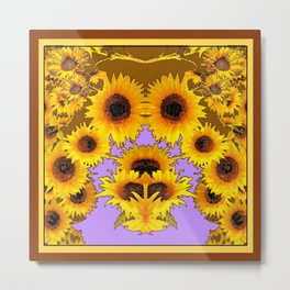 Decorative Coffee -Lilac Color Yellow Sunflowers Pattern Art  Metal Print