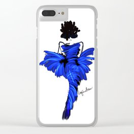 Fashion model in chic blue silk couture dress Clear iPhone Case