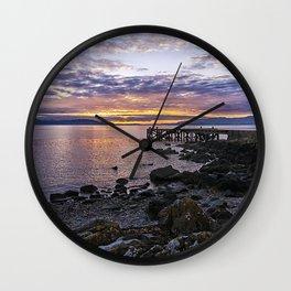 Portencross Jetty Sunset Wall Clock