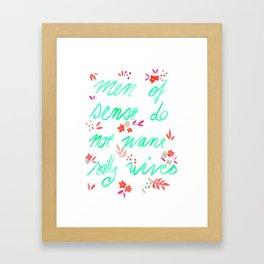 Men of sense do not want silly wives - Mint Green & Red Palette Framed Art Print
