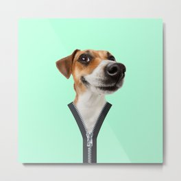 Happy dog with zipper Metal Print