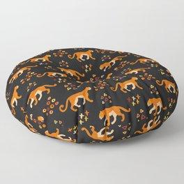 Jaguars on Black Patttern Floor Pillow