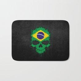 Flag of Brazil on a Chaotic Splatter Skull Bath Mat