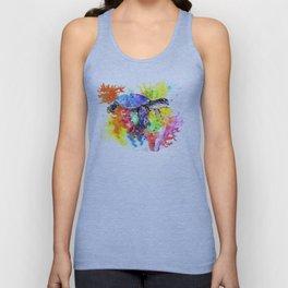 Sea Turtle in Coral Reef design, sea world colorful coral sea world design Unisex Tank Top