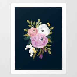 Midnight Florals - Pink & Purple Art Print