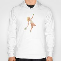 tennis Hoodies featuring Tennis Pinup by Anthony James Rich