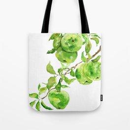 green apple watercolor Tote Bag