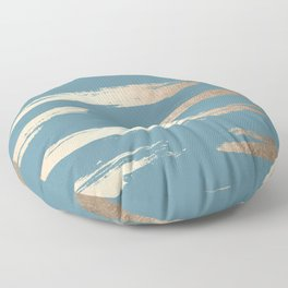 Abstract Painted Stripes Gold Tropical Ocean Blue Floor Pillow