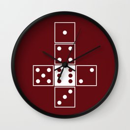 Red Unrolled D6 Wall Clock
