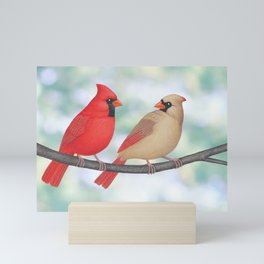 cardinal conversation Mini Art Print