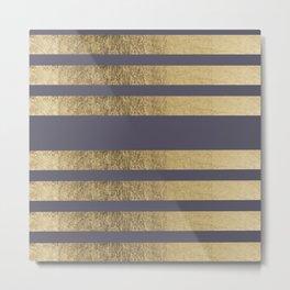 Elegant mauve purple faux gold stripes pattern Metal Print