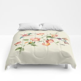 hummingbirds & morning glories Comforters