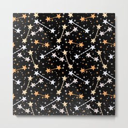 Night sky with gold silver stars Metal Print