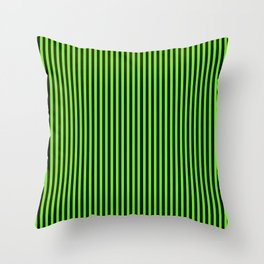 Striped black and light green background Throw Pillow