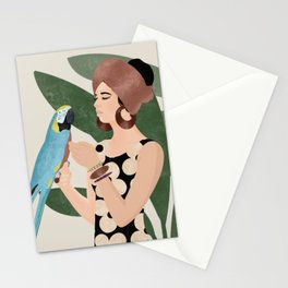 Girl with a parrot Stationery Cards
