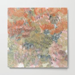 Pastel Garden in Orange and Green Metal Print