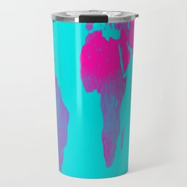 World Map : Gall Peters Turquoise & Pink Travel Mug