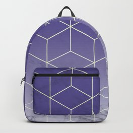 Geometric Marble Ultraviolet Purple Gold Backpack