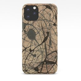 Pollock Inspired Abstract Black On Beige Corbin Art Contemporary Neutral Colors iPhone Case