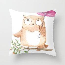 Cute Owl And Umbrella Throw Pillow