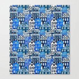 Mansard Village in Blue Watercolor Canvas Print