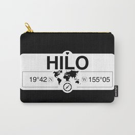 Hilo Hawaii Map GPS Coordinates Artwork with Compass Carry-All Pouch