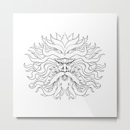 Helios Greek Sun God Head Drawing Black and White Metal Print