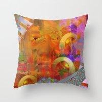 weird Throw Pillows featuring Weird by Ganech joe