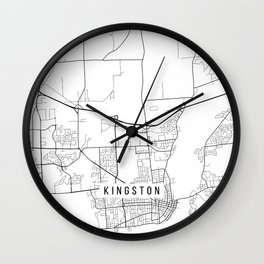 Kingston Map, Canada - Black and White Wall Clock