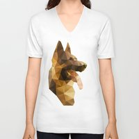 german shepherd V-neck T-shirts featuring The German Shepherd by Ed Burczyk