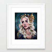 khaleesi Framed Art Prints featuring The Dragon Queen by asdfhd